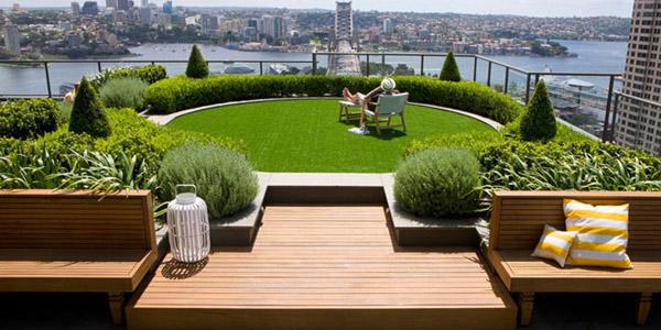 un jardin con vistas