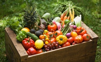Crate of fresh vegetables and fruit --- Image by © Lew Robertson/Corbis